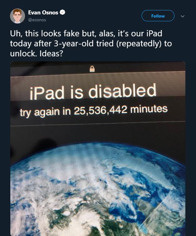 Un baietel de 3 ani a bagat gresit parola in mod repetat si i-a blocat iPad-ul tatalui pana in 2067 | Demamici.ro