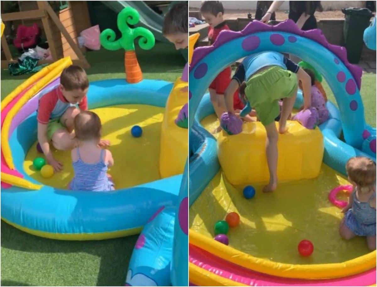 """O mamă cu 22 de copii a construit în curte un mini """"parc acvatic"""" ca loc de joacă"""