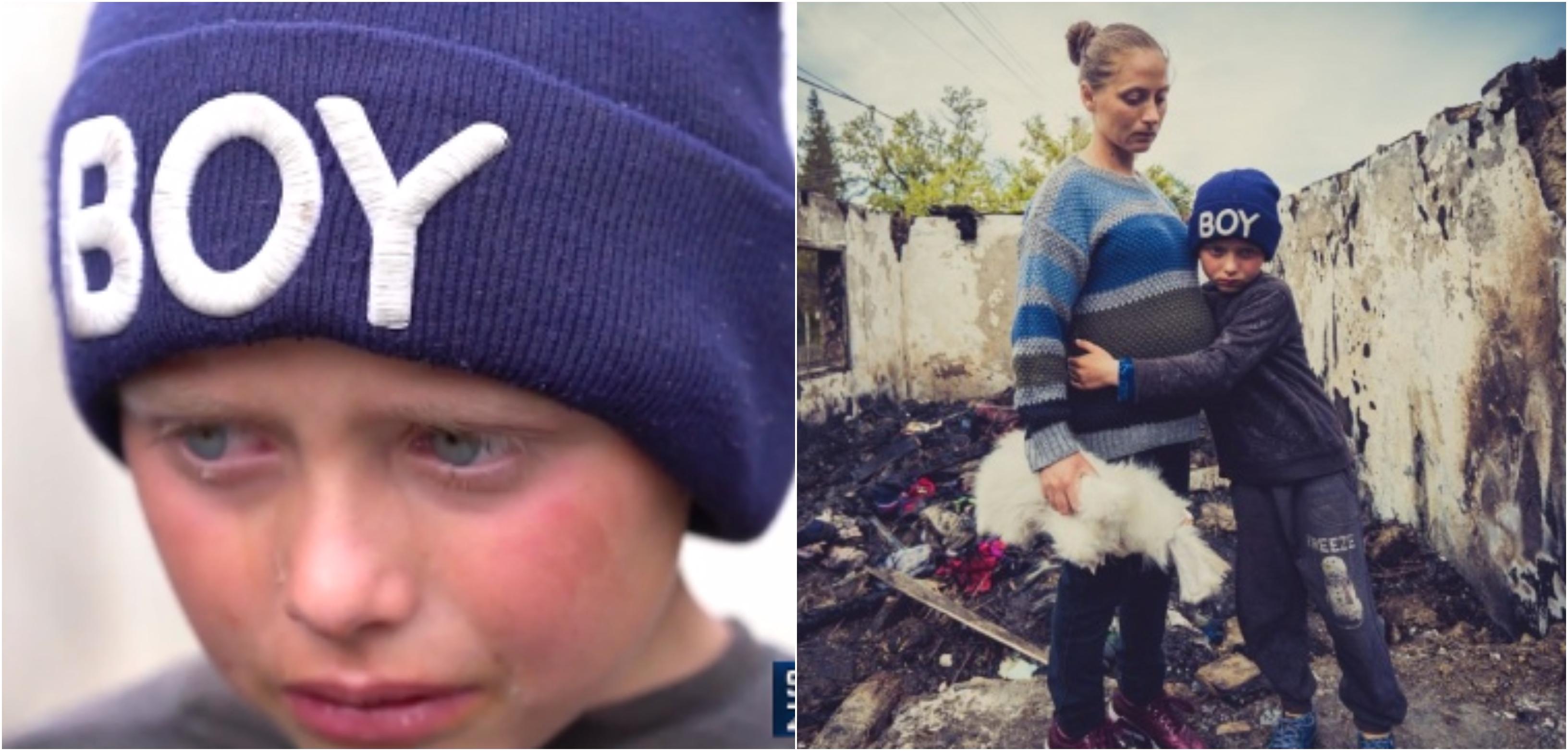 Tristețea băiețelului din Botoșani frânge inimi. El și mămica însărcinată au rămas pe drumuri după ce un incendiu le-a distrus casa VIDEO | Demamici.ro