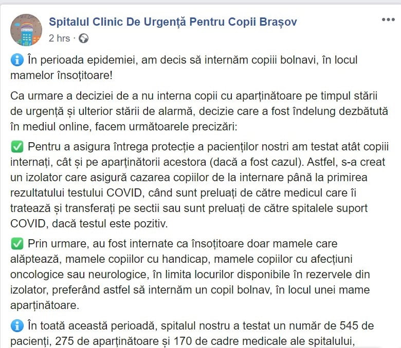 Spitalul Clinic de Urgență Pentru Copii Brașov refuză internarea mamelor împreună cu cei mici | Demamici.ro