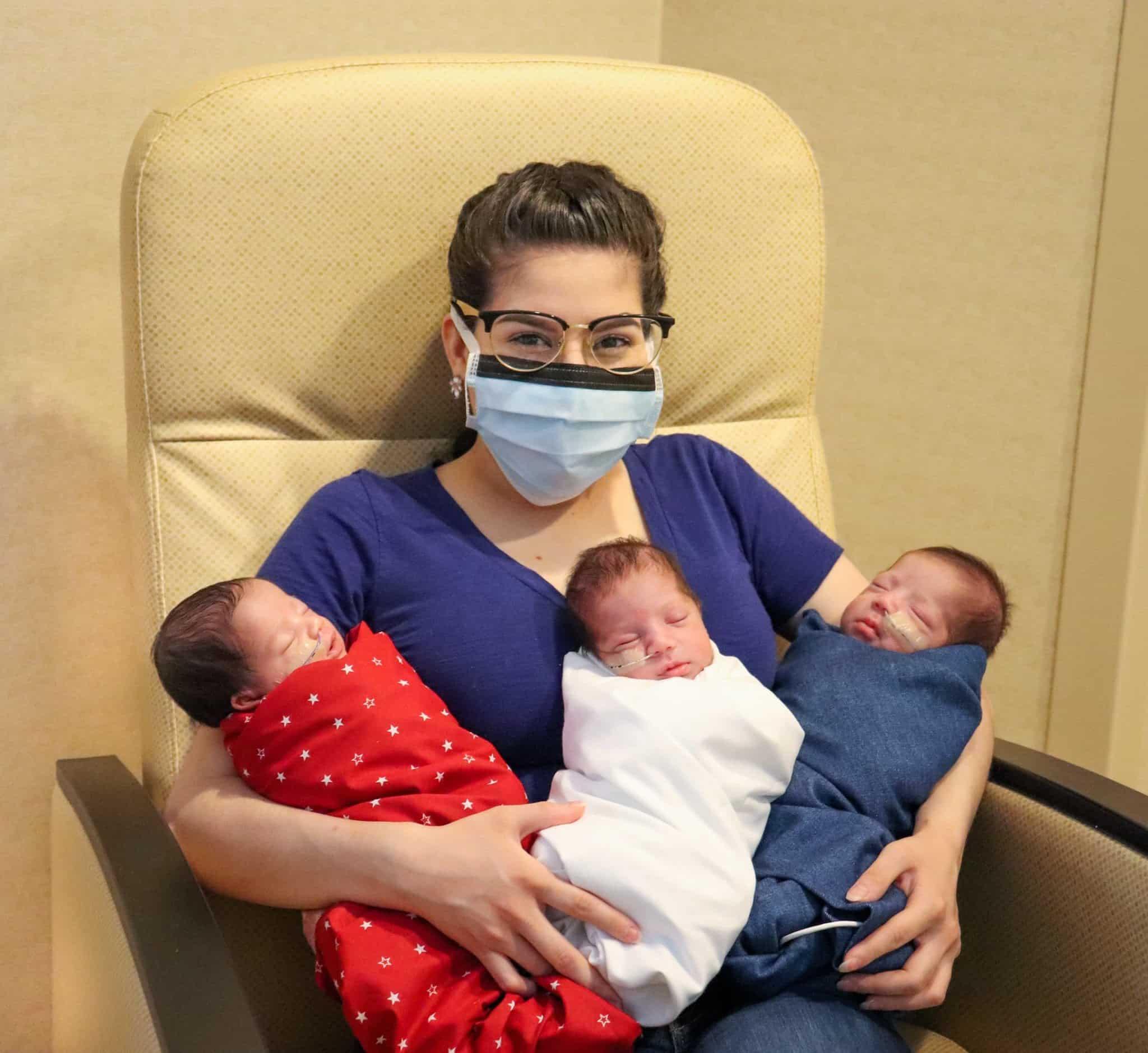 Mamă supereroină. A învins COVID, a născut prematur tripleți, însă nu și-a pierdut speranța