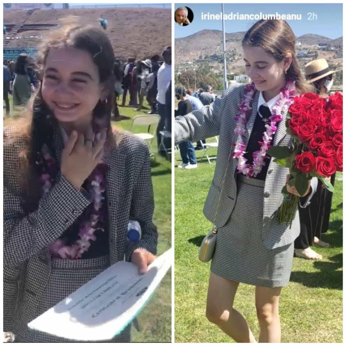 Irinuca a absolvit clasa a opta la școala din America. Părinții Monica Gabor și Irinel Columbeanu, extrem de mândri